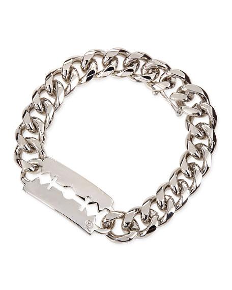 Chunk Chain Large Razor-Blade ID Bracelet, Silvertone