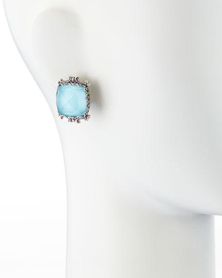 Turquoise & Rock Crystal Doublet Stud Earrings