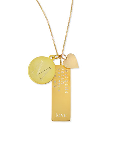 14k Gold Plated Cari 3-Pendant Necklace with Initial  Multi-Name Tag & Heart Charm