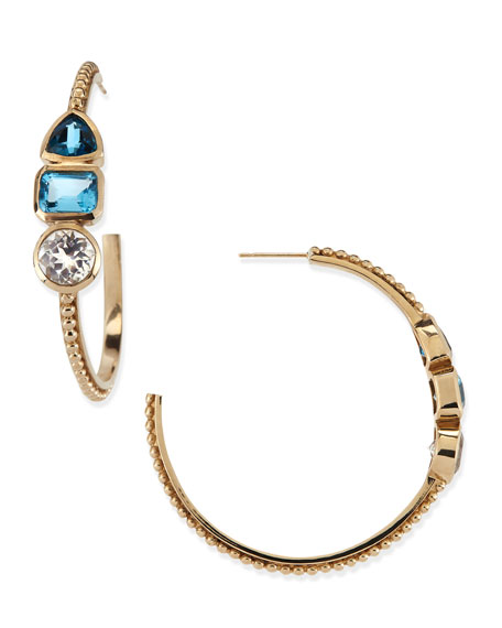 Golden Blue 3-Stone Hoop Earrings
