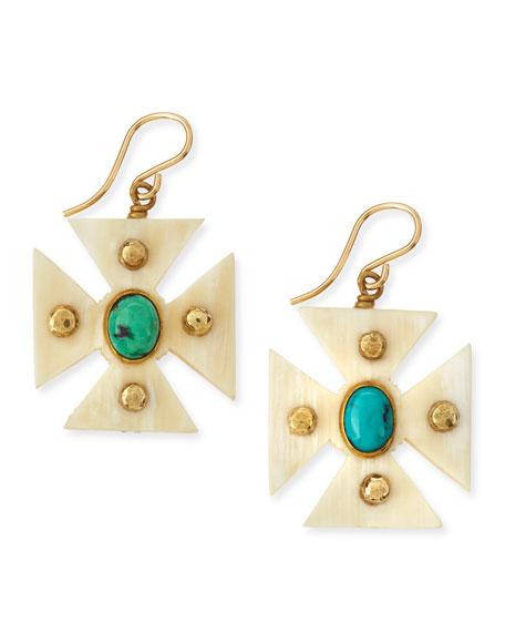 Ashley Pittman Araba Light Horn Turquoise Maltese Cross Earrings