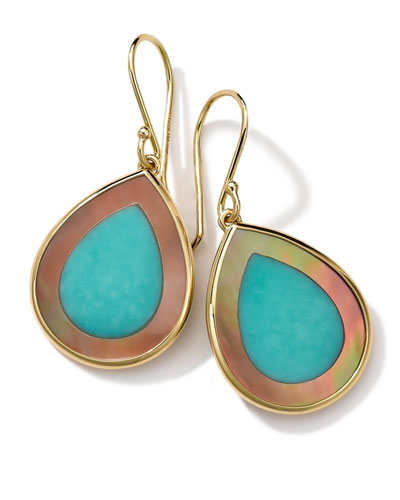 18K Gold Polished Rock Candy Mini Teardrop Earrings in Turquoise/Brown Shell