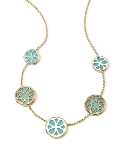 Ippolita 18K Gold Polished Rock Candy Cutout Stone 5-Station Necklace in Isola, 16-18""