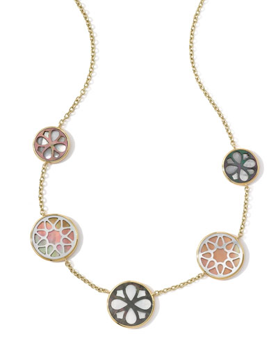 Ippolita 18K Gold Polished Rock Candy Cutout Stone 5-Station Necklace in Sabbia, 16-18""
