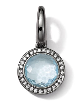 Ippolita Black Sterling Silver Light Blue Topaz & Diamond Lollipop Charm