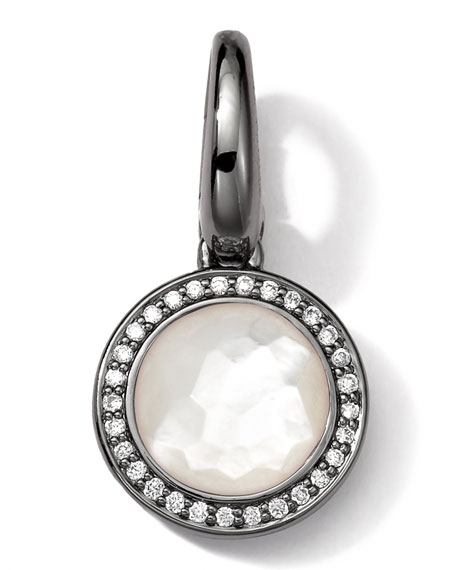Black Sterling Silver Mother-of-Pearl & Diamond Lollipop Charm