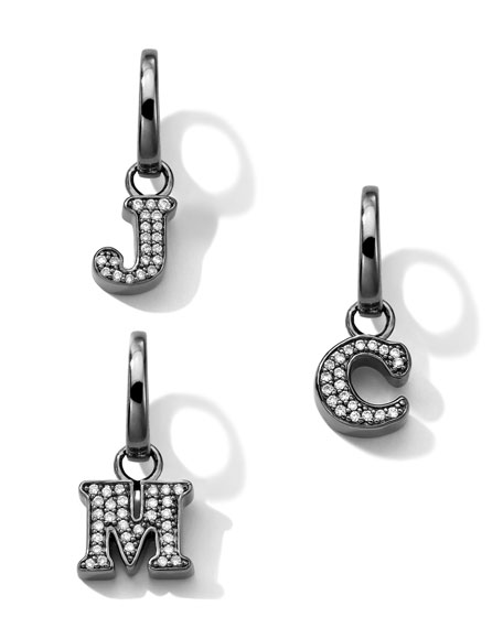 Black Sterling Silver & Diamond Initial Charm