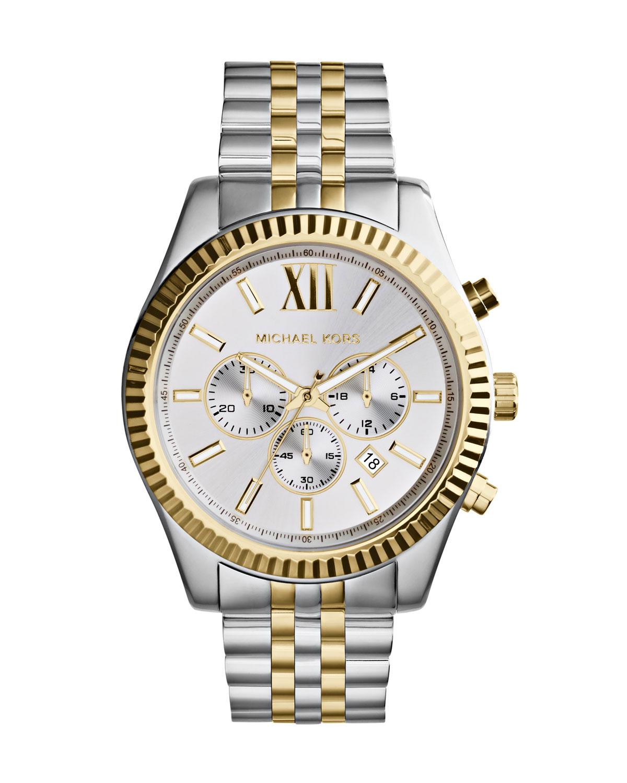 3180513e3b68 Michael Kors Mid-Size Two-Tone Stainless Steel Lexington Chronograph Watch