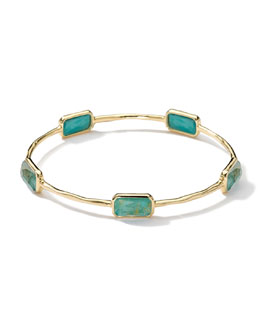 Ippolita 18k Gold Rock Candy Gelato 5-Stone Bangle, Rutilated Quartz/Turquoise