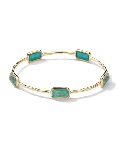 18k Gold Rock Candy Gelato 5-Stone Bangle, Rutilated Quartz/Turquoise