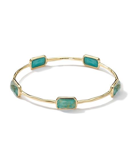 18k Gold Rock Candy Gelato 5-Stone Bangle, Rutilated Quartz/Turquoise
