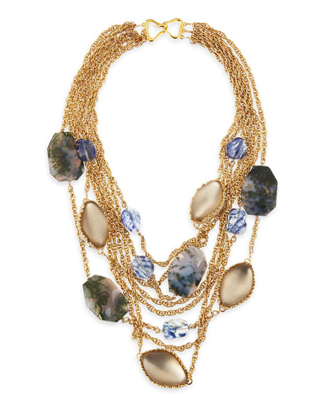 Golden Multi-Chain Multi-Stone Bib Necklace