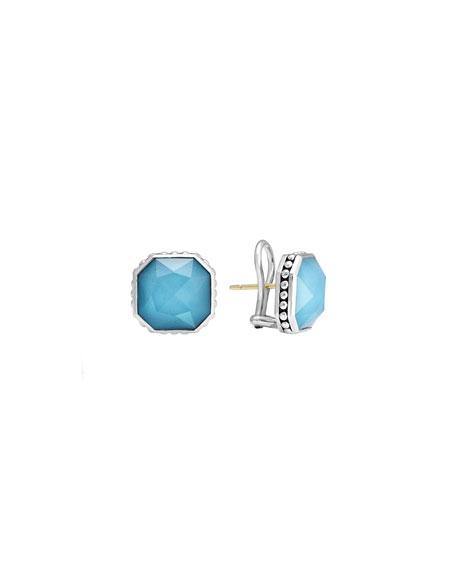 14mm Sterling Silver Turquoise Rocks Stud Earrings
