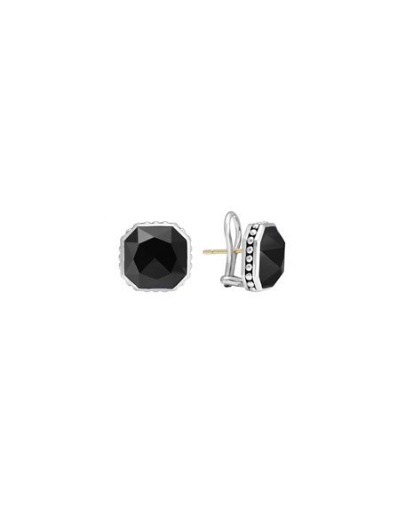 14mm Sterling Silver Onyx Rocks Clip-On Earrings