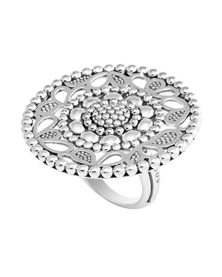 Sterling Silver Voyage Caviar Floral Ring