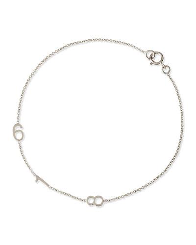 Mini 3-Number Bracelet  White Gold