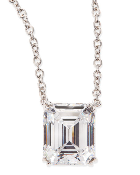 Image 1 of 2: Fantasia by DeSerio 6.0 TCW Cubic Zirconia Emerald-Cut Pendant Necklace