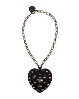 Lanvin Heart Pendant Necklace, Black