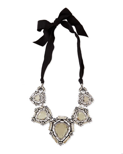Crystal Bib Necklace with Ribbons