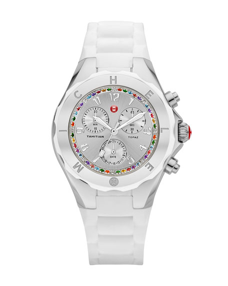Tahitian Jelly Bean Topaz-Bezel Chronograph Watch, Stainless/White