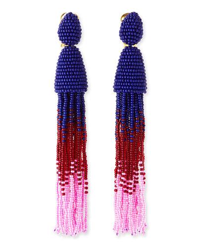 Oscar de la Renta Long Ombre-Beaded Tassel Earrings, Blue/Red/Pink
