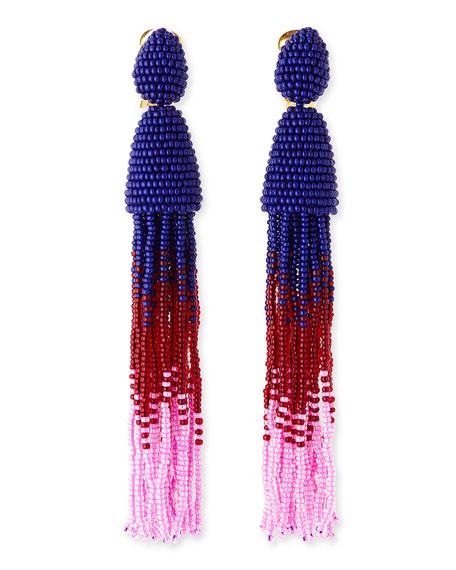 Long Ombre-Beaded Tassel Earrings, Blue/Red/Pink