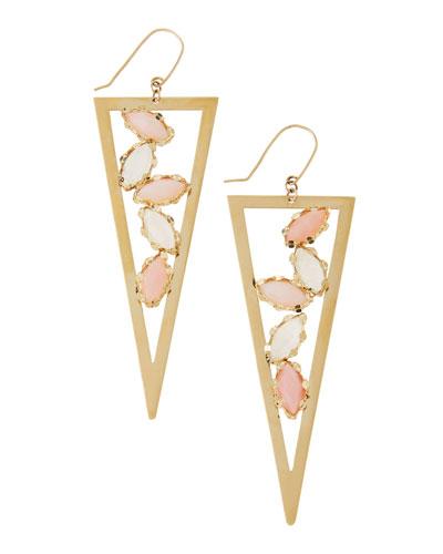 Lana Pink Opal & Rainbow Moonstone Triangle Spike Earrings