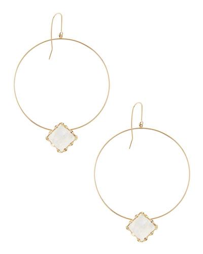 Lana Rainbow Moonstone-Dangle Hoop Earrings