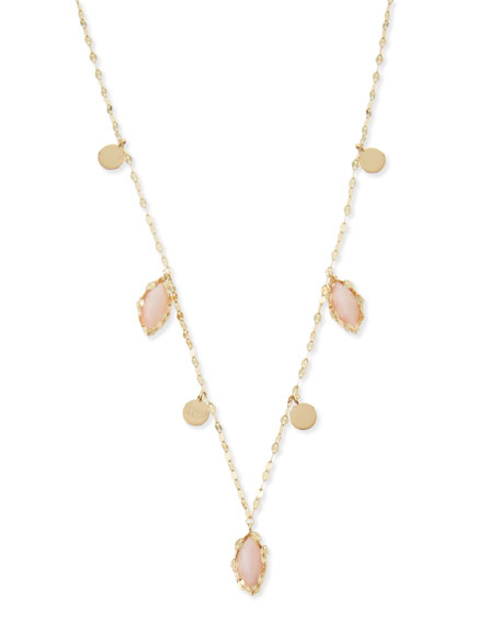 14k Gold Pink Opal Marquise Necklace