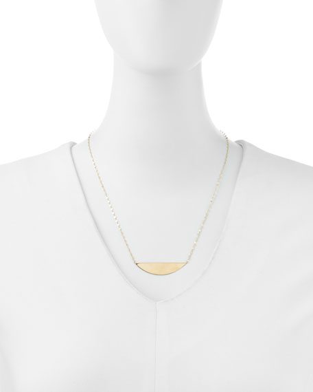 14k Gold Reflector Pendant Necklace