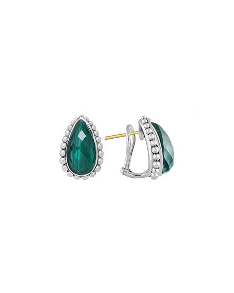 Silver Maya Malachite Half-Hoop Stud Earrings