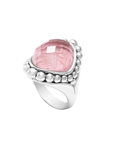 Silver Maya Rhodochrosite North-South Dome Ring