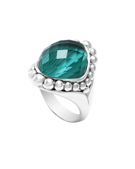 Silver Maya Malachite North-South Dome Ring