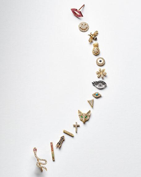 14k Rose Gold Black Diamond Arrow Single Stud Earring