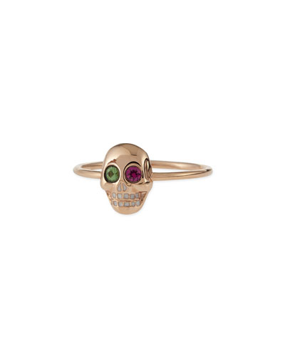 Sydney Evan 14k Rose Gold Skull Ring with Ruby & Garnet