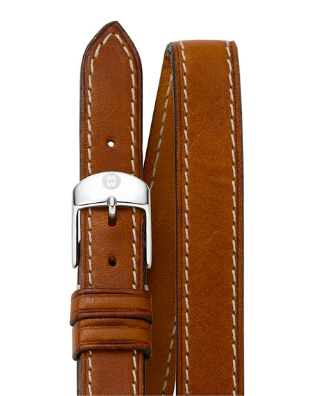 MICHELE 12mm Double-Wrap Leather Strap, Tan