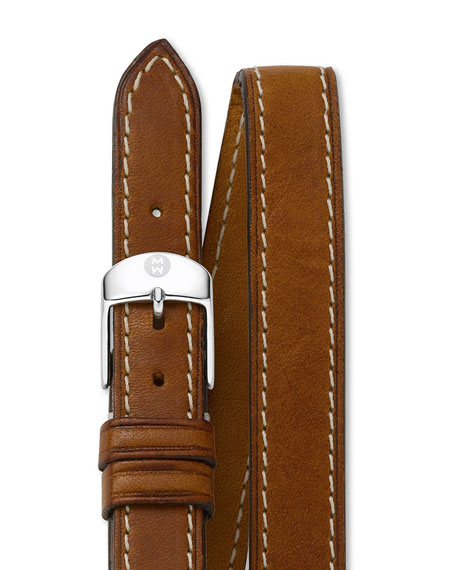MICHELE 16mm Double-Wrap Leather Strap, Tan