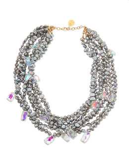 Devon Leigh Gray Freshwater Pearl & Mystic Rainbow Quartz Necklace