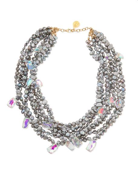 Gray Freshwater Pearl & Mystic Rainbow Quartz Necklace