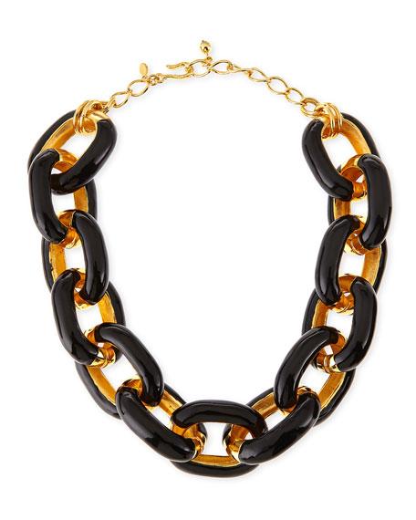 Black Enamel & Gold-Plated Link Necklace