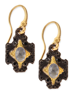 Armenta Old World Midnight Cross Earrings with Kyanite & White Diamonds