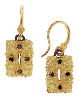 Armenta Old World Small Rectangle Scroll Earrings with Black Diamonds