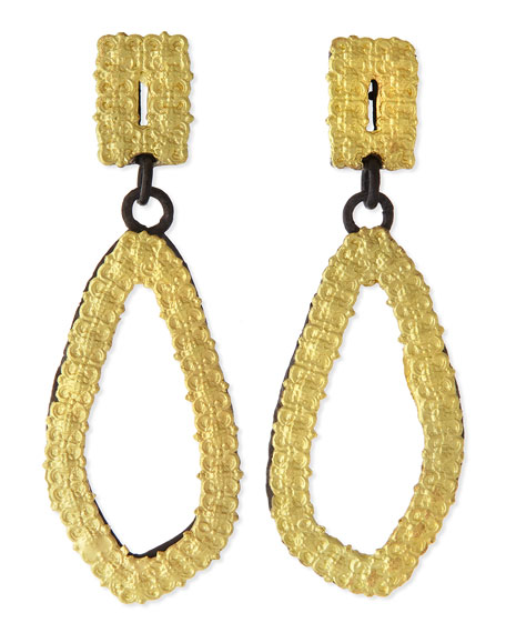 Old World 18k Gold & Midnight Carved Drop Earrings