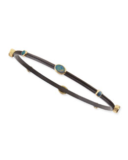 Armenta Old World Midnight Oval Boulder Opal Bangle
