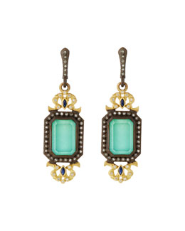 Armenta Old World Green Turquoise Filigree Drop Earrings with Diamonds