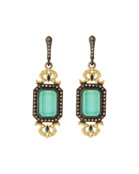 Old World Green Turquoise Filigree Drop Earrings with Diamonds