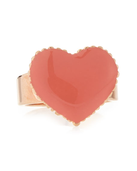 Heart Ring, Rose Gold-Plate/Coral