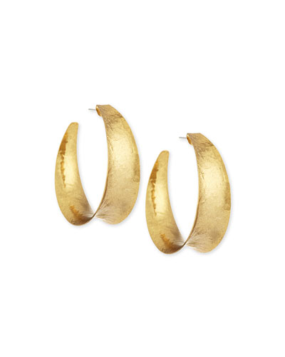 Nest Hammered Brass Graduated Hoop Earrings