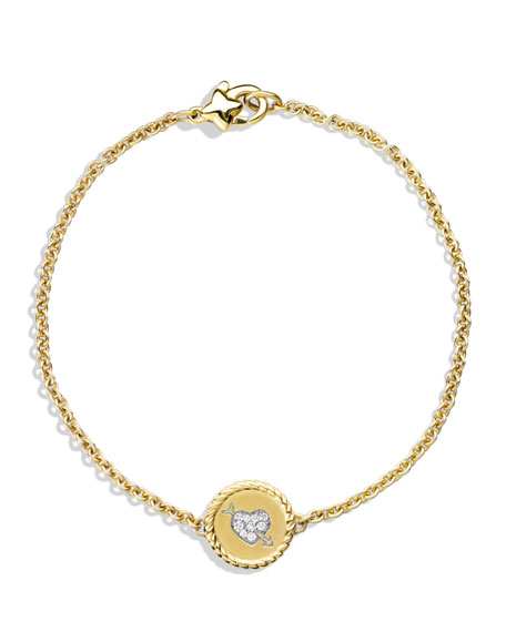 Cable Pave Heart Charm Bracelet with Diamonds in Gold