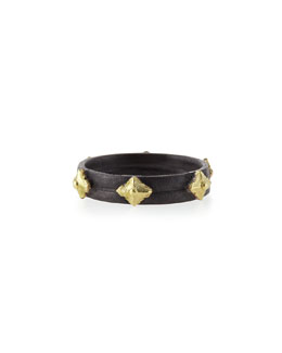 Armenta Old World Midnight & 18k Cravelli Plain Stackable Band Ring